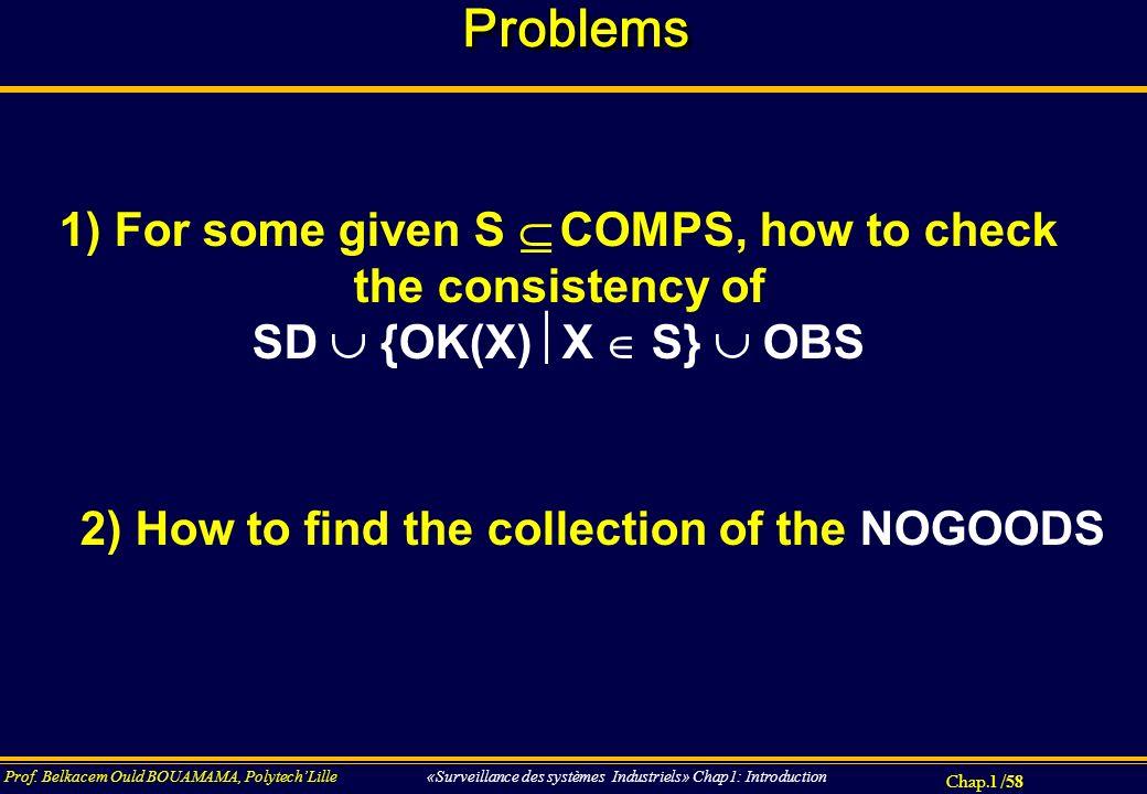 Chap.1 / 58 Prof. Belkacem Ould BOUAMAMA, PolytechLille «Surveillance des systèmes Industriels» Chap1: Introduction ProblemsProblems 1) For some given