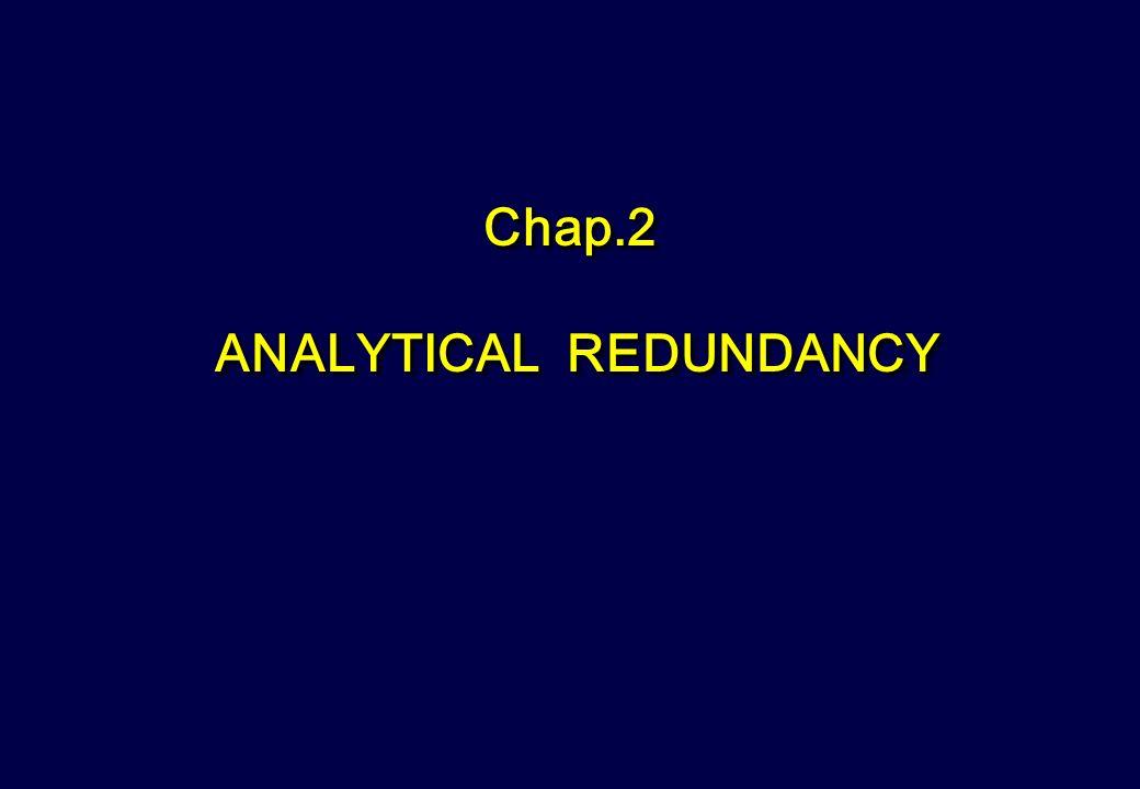 Chap.2 ANALYTICAL REDUNDANCY