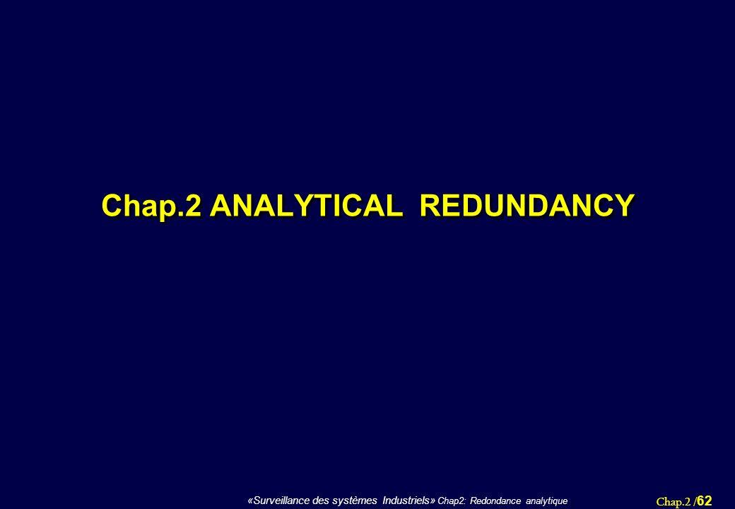 Chap.2 / 62 «Surveillance des systèmes Industriels» Chap2: Redondance analytique Chap.2 ANALYTICAL REDUNDANCY