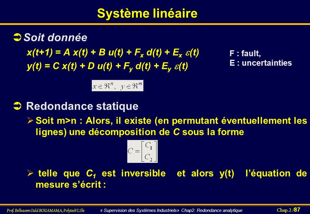 Chap.2 / 87 Prof. Belkacem Ould BOUAMAMA, PolytechLille « Supervision des Systèmes Industriels» Chap2: Redondance analytique Système linéaire Soit don