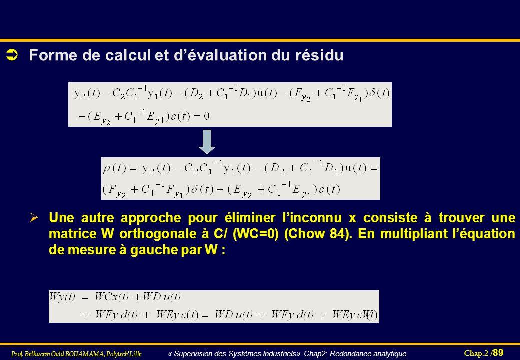 Chap.2 / 89 Prof. Belkacem Ould BOUAMAMA, PolytechLille « Supervision des Systèmes Industriels» Chap2: Redondance analytique Forme de calcul et dévalu