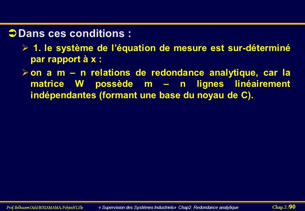 Chap.2 / 90 Prof. Belkacem Ould BOUAMAMA, PolytechLille « Supervision des Systèmes Industriels» Chap2: Redondance analytique Dans ces conditions : 1.