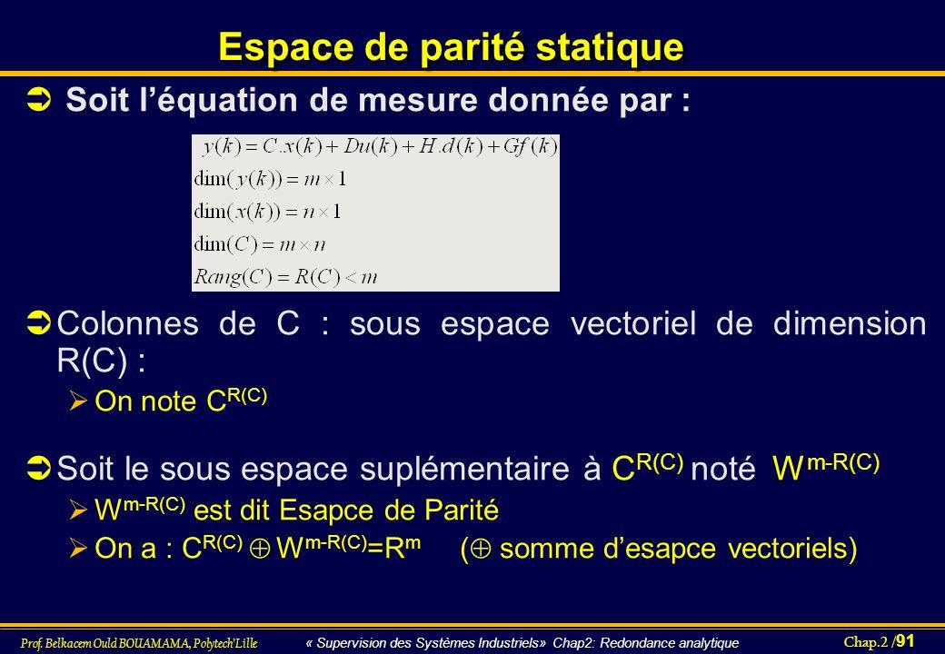 Chap.2 / 91 Prof. Belkacem Ould BOUAMAMA, PolytechLille « Supervision des Systèmes Industriels» Chap2: Redondance analytique Espace de parité statique