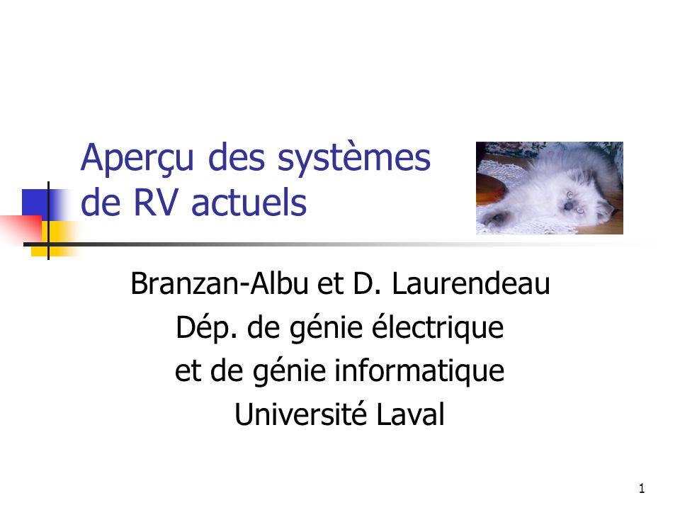 1 Aperçu des systèmes de RV actuels Branzan-Albu et D. Laurendeau Dép. de génie électrique et de génie informatique Université Laval