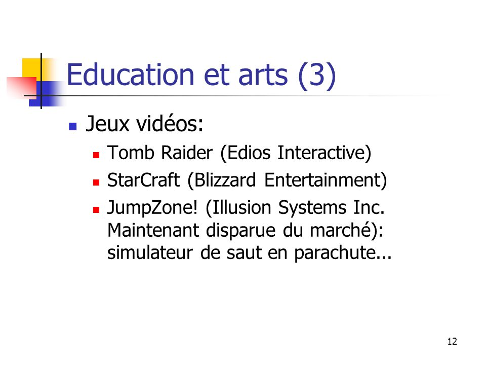 12 Education et arts (3) Jeux vidéos: Tomb Raider (Edios Interactive) StarCraft (Blizzard Entertainment) JumpZone! (Illusion Systems Inc. Maintenant d
