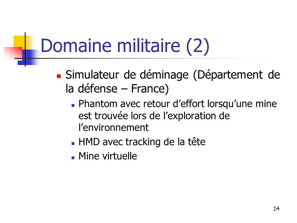14 Domaine militaire (2) Simulateur de déminage (Département de la défense – France) Phantom avec retour deffort lorsquune mine est trouvée lors de le