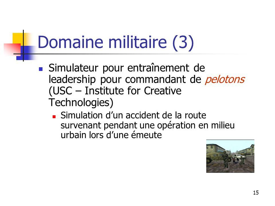 15 Domaine militaire (3) Simulateur pour entraînement de leadership pour commandant de pelotons (USC – Institute for Creative Technologies) Simulation