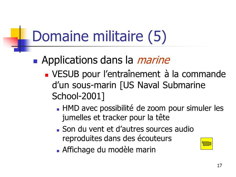 17 Domaine militaire (5) Applications dans la marine VESUB pour lentraînement à la commande dun sous-marin [US Naval Submarine School-2001] HMD avec p