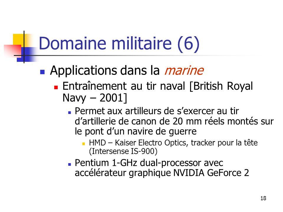 18 Domaine militaire (6) Applications dans la marine Entraînement au tir naval [British Royal Navy – 2001] Permet aux artilleurs de sexercer au tir da