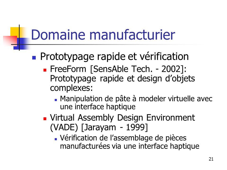 21 Domaine manufacturier Prototypage rapide et vérification FreeForm [SensAble Tech. - 2002]: Prototypage rapide et design dobjets complexes: Manipula