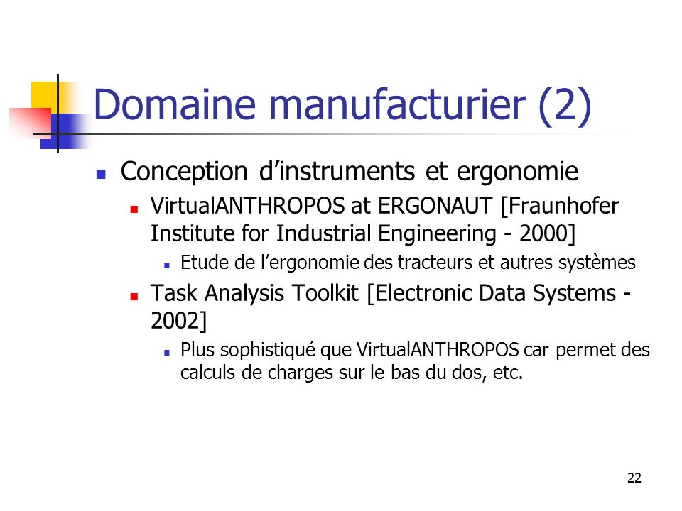 22 Domaine manufacturier (2) Conception dinstruments et ergonomie VirtualANTHROPOS at ERGONAUT [Fraunhofer Institute for Industrial Engineering - 2000