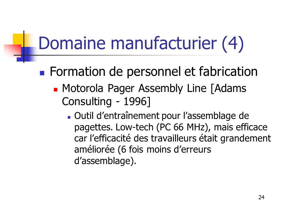 24 Domaine manufacturier (4) Formation de personnel et fabrication Motorola Pager Assembly Line [Adams Consulting - 1996] Outil dentraînement pour las