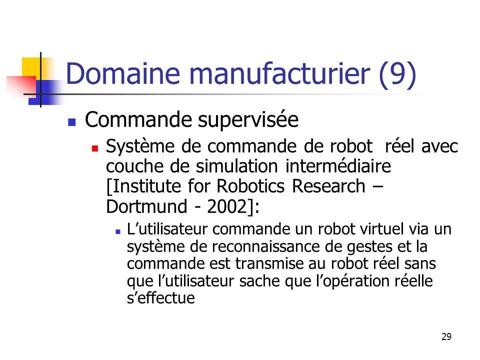 29 Domaine manufacturier (9) Commande supervisée Système de commande de robot réel avec couche de simulation intermédiaire [Institute for Robotics Res