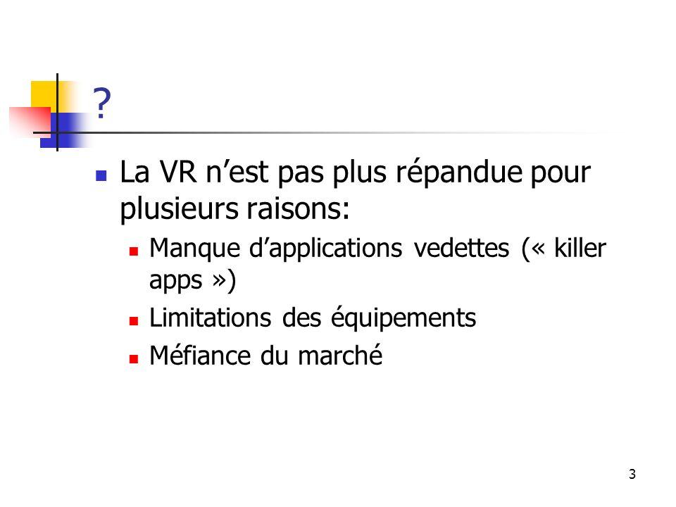 3 ? La VR nest pas plus répandue pour plusieurs raisons: Manque dapplications vedettes (« killer apps ») Limitations des équipements Méfiance du march