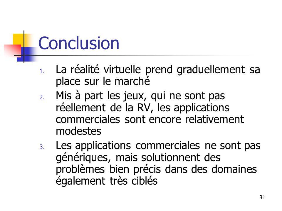 31 Conclusion 1. La réalité virtuelle prend graduellement sa place sur le marché 2. Mis à part les jeux, qui ne sont pas réellement de la RV, les appl