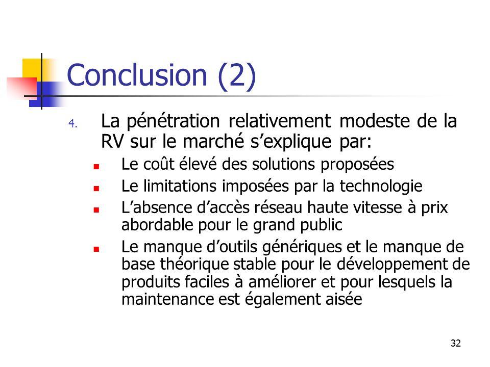 32 Conclusion (2) 4. La pénétration relativement modeste de la RV sur le marché sexplique par: Le coût élevé des solutions proposées Le limitations im