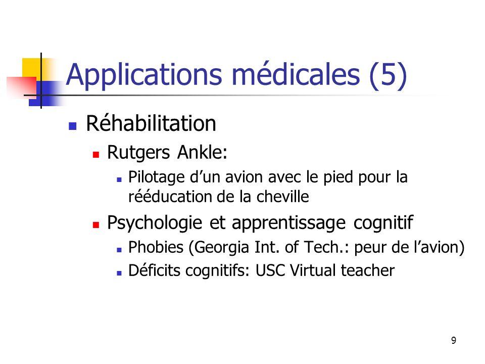 9 Applications médicales (5) Réhabilitation Rutgers Ankle: Pilotage dun avion avec le pied pour la rééducation de la cheville Psychologie et apprentis