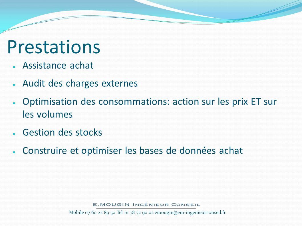 Prestations Assistance achat Audit des charges externes Optimisation des consommations: action sur les prix ET sur les volumes Gestion des stocks Cons