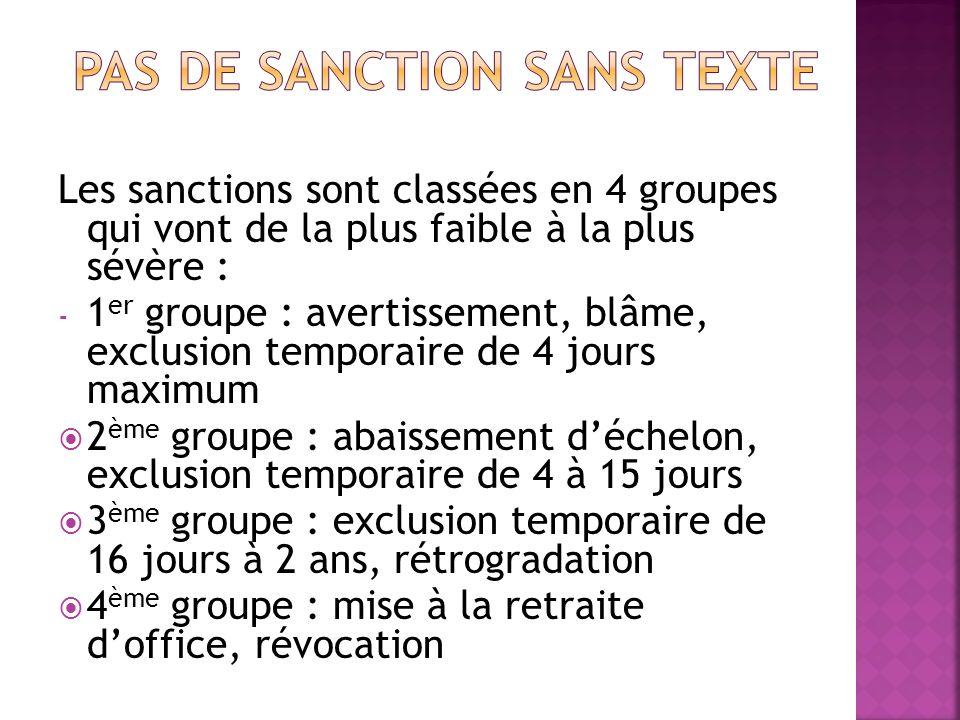 Les sanctions sont classées en 4 groupes qui vont de la plus faible à la plus sévère : - 1 er groupe : avertissement, blâme, exclusion temporaire de 4