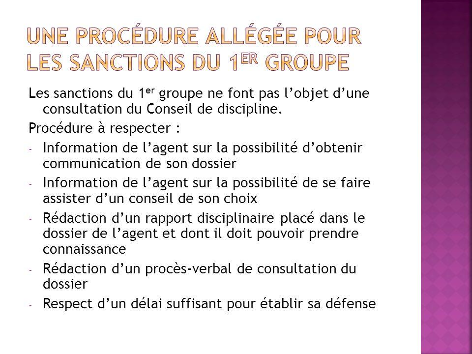 Les sanctions du 1 er groupe ne font pas lobjet dune consultation du Conseil de discipline. Procédure à respecter : - Information de lagent sur la pos