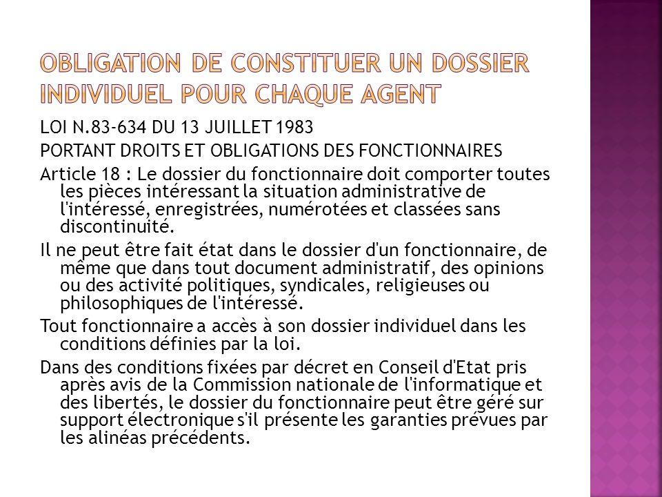 LOI N.83-634 DU 13 JUILLET 1983 PORTANT DROITS ET OBLIGATIONS DES FONCTIONNAIRES Article 18 : Le dossier du fonctionnaire doit comporter toutes les pi