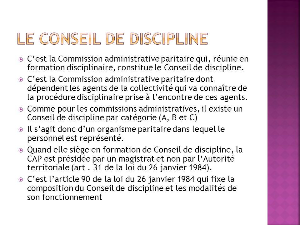 Cest la Commission administrative paritaire qui, réunie en formation disciplinaire, constitue le Conseil de discipline. Cest la Commission administrat