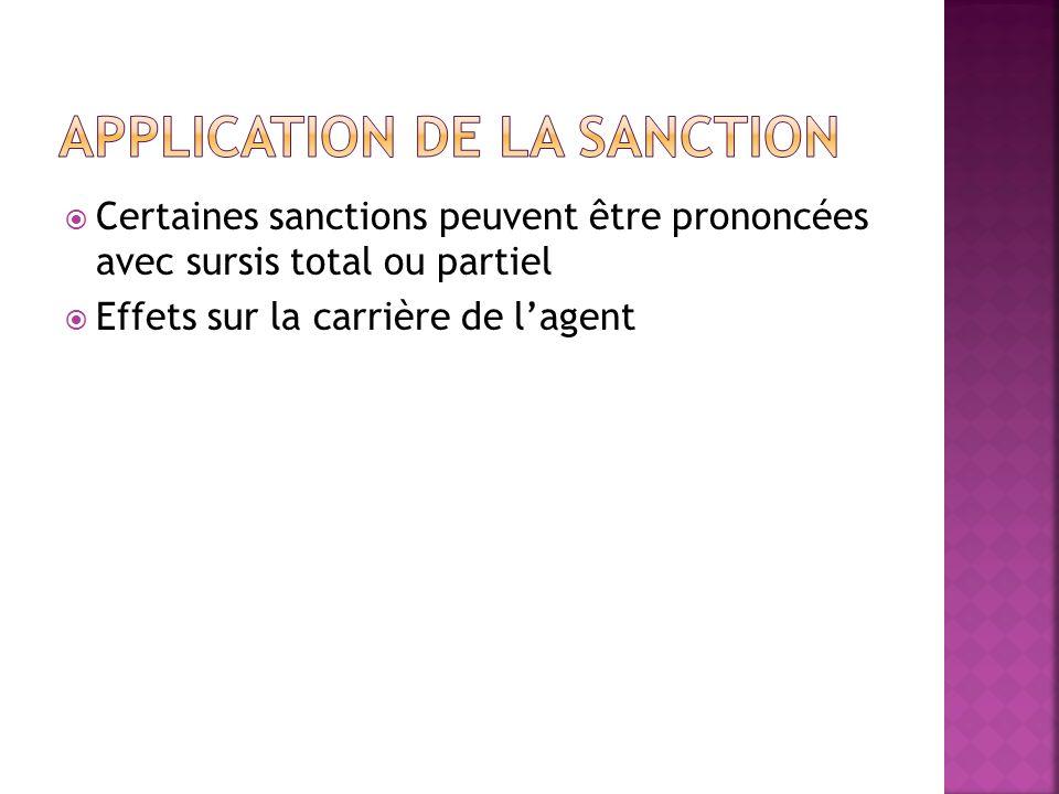 Certaines sanctions peuvent être prononcées avec sursis total ou partiel Effets sur la carrière de lagent