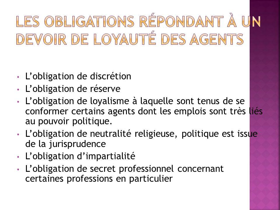 Lobligation de discrétion Lobligation de réserve Lobligation de loyalisme à laquelle sont tenus de se conformer certains agents dont les emplois sont