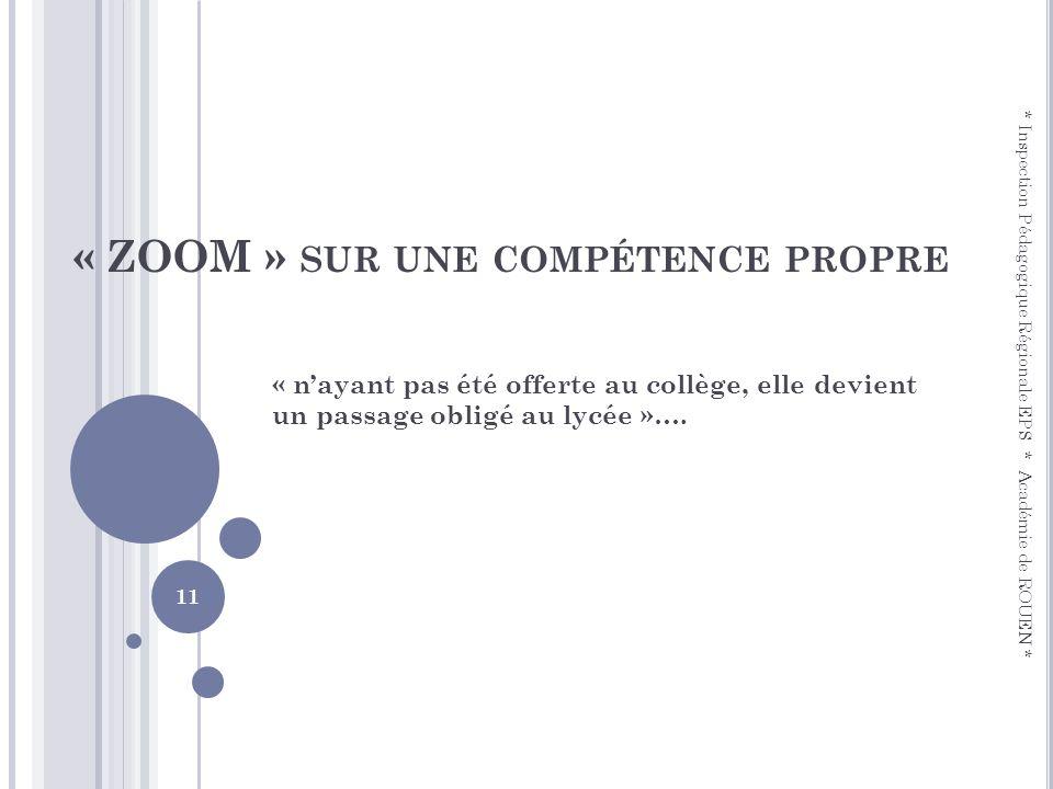 « ZOOM » SUR UNE COMPÉTENCE PROPRE « nayant pas été offerte au collège, elle devient un passage obligé au lycée »…. * Inspection Pédagogique Régionale