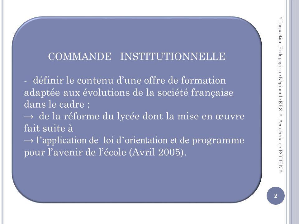 COMMANDE INSTITUTIONNELLE - définir le contenu dune offre de formation adaptée aux évolutions de la société française dans le cadre : de la réforme du
