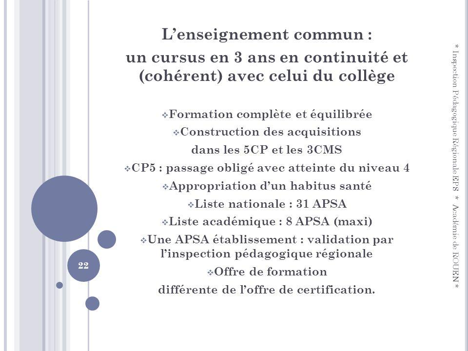 Lenseignement commun : un cursus en 3 ans en continuité et (cohérent) avec celui du collège Formation complète et équilibrée Construction des acquisit
