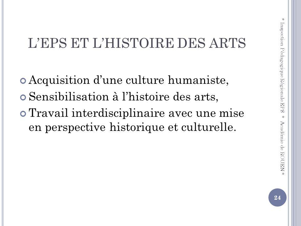 LEPS ET LHISTOIRE DES ARTS Acquisition dune culture humaniste, Sensibilisation à lhistoire des arts, Travail interdisciplinaire avec une mise en persp