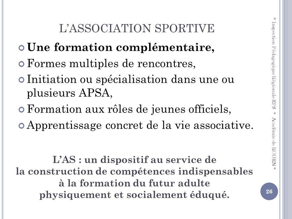 LASSOCIATION SPORTIVE Une formation complémentaire, Formes multiples de rencontres, Initiation ou spécialisation dans une ou plusieurs APSA, Formation