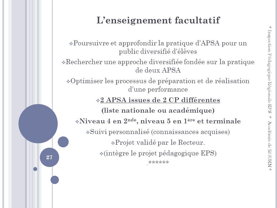 Lenseignement facultatif Poursuivre et approfondir la pratique dAPSA pour un public diversifié délèves Rechercher une approche diversifiée fondée sur