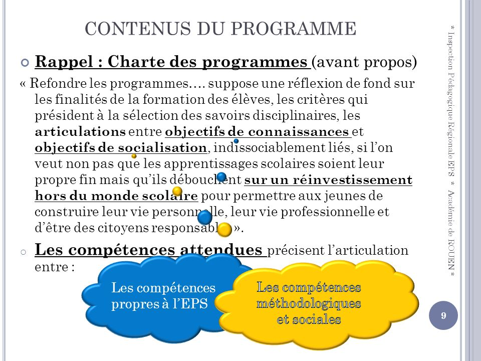 CONTENUS DU PROGRAMME Rappel : Charte des programmes (avant propos) « Refondre les programmes…. suppose une réflexion de fond sur les finalités de la