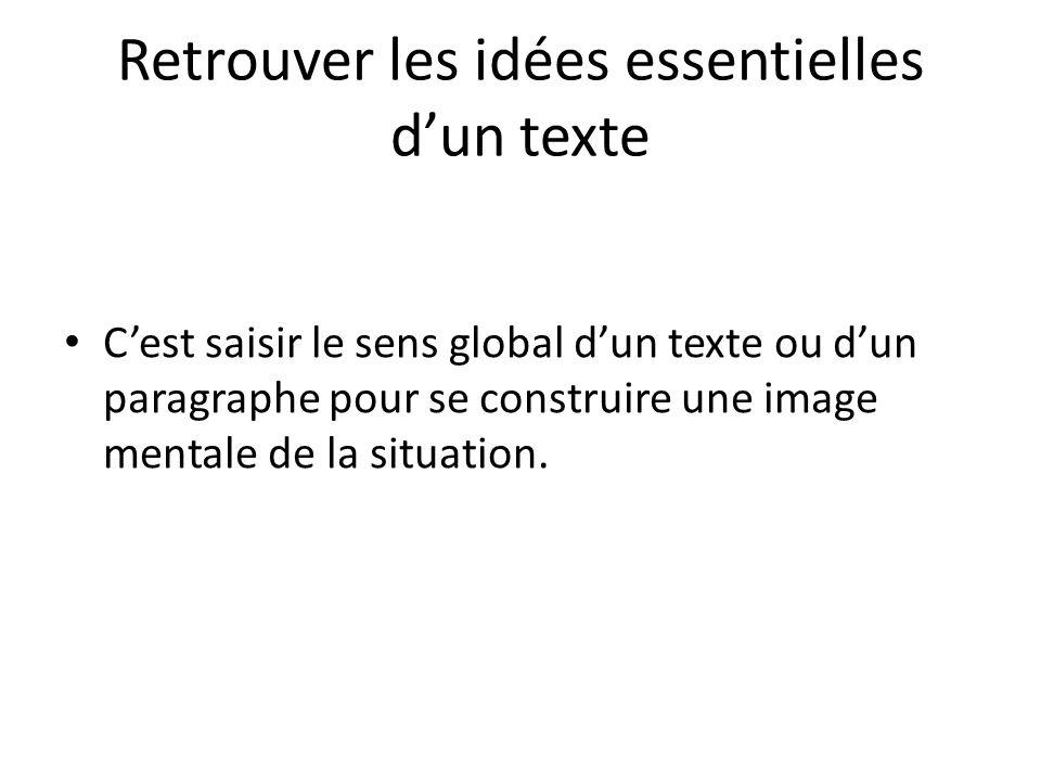 Cest saisir le sens global dun texte ou dun paragraphe pour se construire une image mentale de la situation.