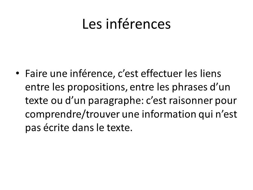 Les inférences Faire une inférence, cest effectuer les liens entre les propositions, entre les phrases dun texte ou dun paragraphe: cest raisonner pour comprendre/trouver une information qui nest pas écrite dans le texte.