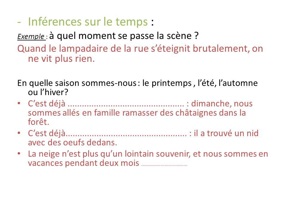 -Inférences sur le temps : Exemple : à quel moment se passe la scène .