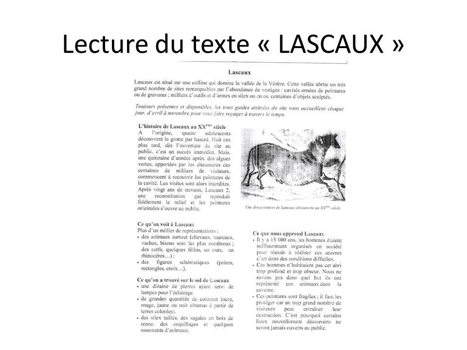 Lecture du texte « LASCAUX »
