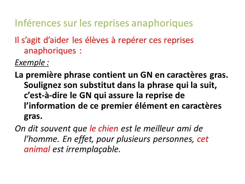 Inférences sur les reprises anaphoriques Il sagit daider les élèves à repérer ces reprises anaphoriques : Exemple : La première phrase contient un GN en caractères gras.