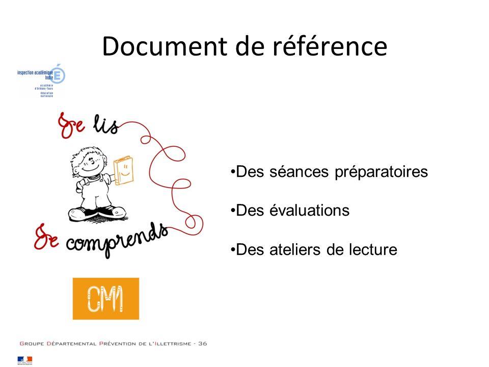 Document de référence Des séances préparatoires Des évaluations Des ateliers de lecture