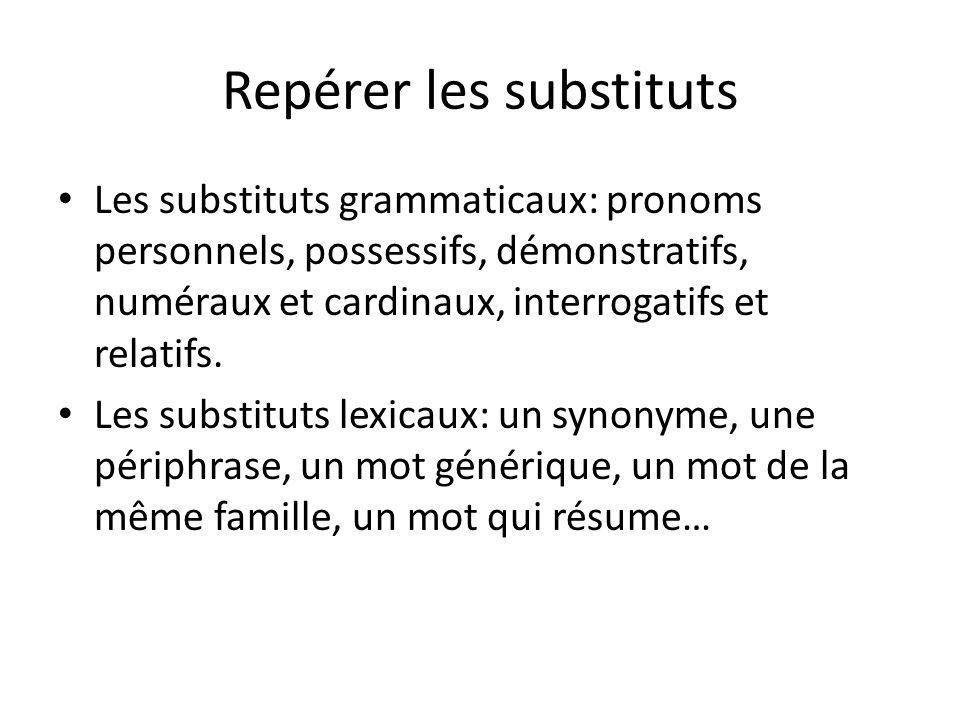 Les substituts grammaticaux: pronoms personnels, possessifs, démonstratifs, numéraux et cardinaux, interrogatifs et relatifs.
