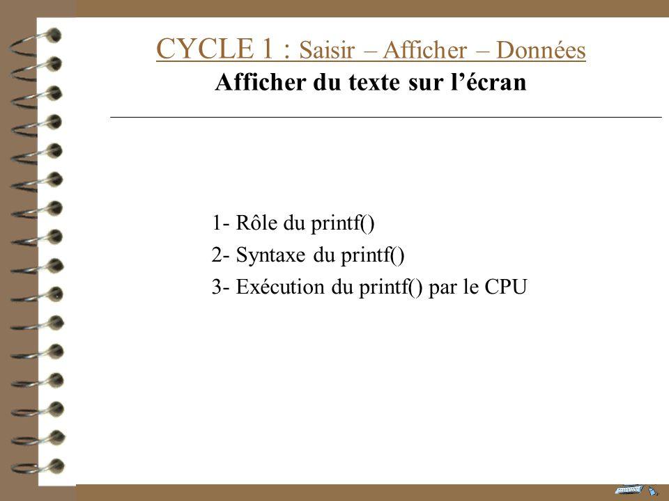 CYCLE 1 : Saisir – Afficher – Données Afficher du texte sur lécran 1- Rôle du printf() 2- Syntaxe du printf() 3- Exécution du printf() par le CPU