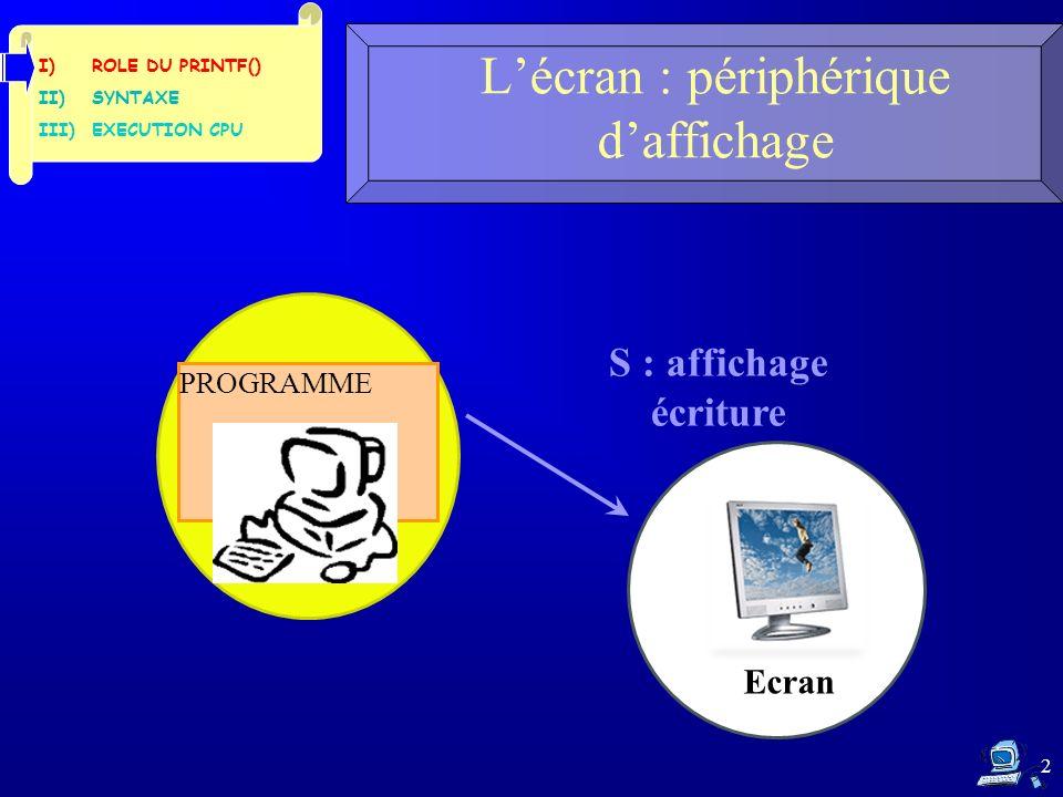 2 Lécran : périphérique daffichage S : affichage écriture PROGRAMME I)ROLE DU PRINTF() II)SYNTAXE III)EXECUTION CPU Ecran