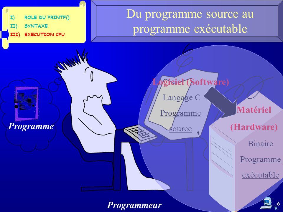 7 Le CPU et la RAM Système de traitement automatique de linformation 4) Mémoire Cache 2) Mémoire Centrale 3) Bus Système 1) Microprocesseur, CPU (Central Processing Unit), UC (Unité Centrale de traitement) UAL,ALU Unité de calcul Unité de commande Unité de Contrôle Registres ROM (Read Only Memory) RAM (Random Access Memory) I)ROLE DU PRINTF() II)SYNTAXE III)EXECUTION CPU