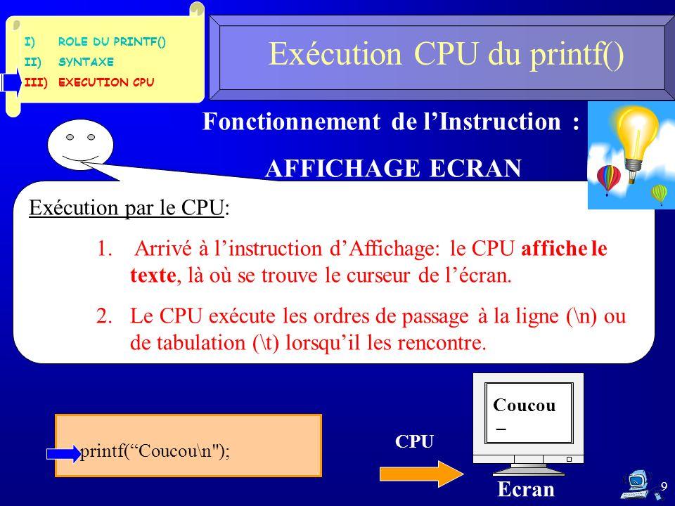 9 Fonctionnement de lInstruction : AFFICHAGE ECRAN Exécution par le CPU: 1. Arrivé à linstruction dAffichage: le CPU affiche le texte, là où se trouve