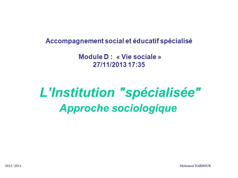 Accompagnement social et éducatif spécialisé Module D : « Vie sociale » 27/11/2013 17:35 LInstitution