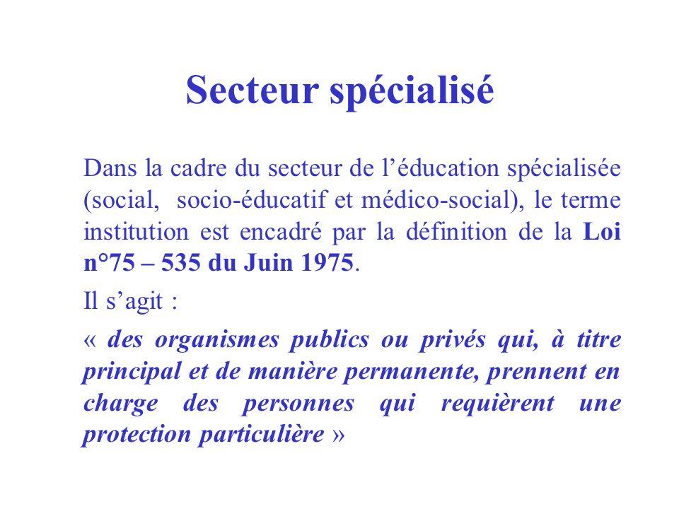 Secteur spécialisé Dans la cadre du secteur de léducation spécialisée (social, socio-éducatif et médico-social), le terme institution est encadré par