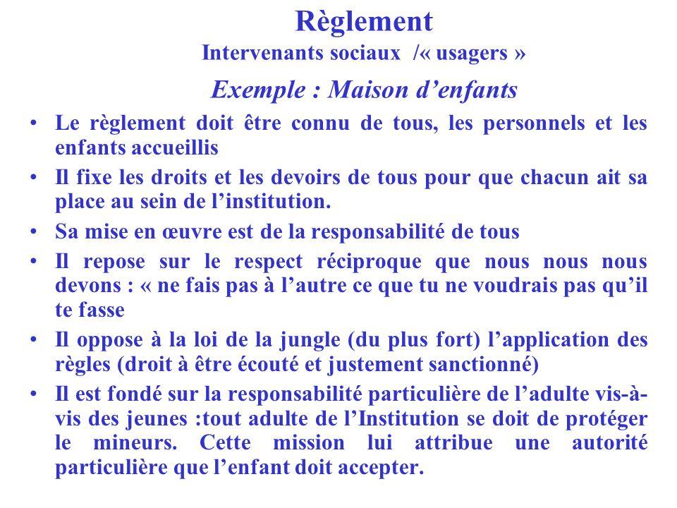 Règlement Intervenants sociaux /« usagers » Exemple : Maison denfants Le règlement doit être connu de tous, les personnels et les enfants accueillis I