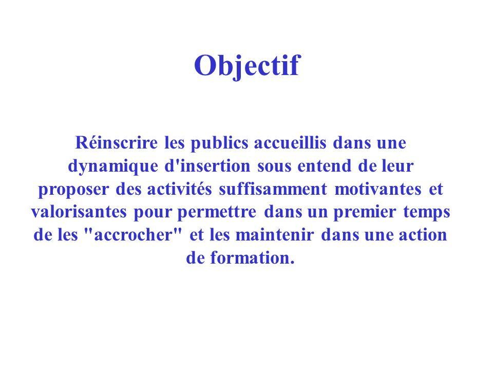 Objectif Réinscrire les publics accueillis dans une dynamique d'insertion sous entend de leur proposer des activités suffisamment motivantes et valori